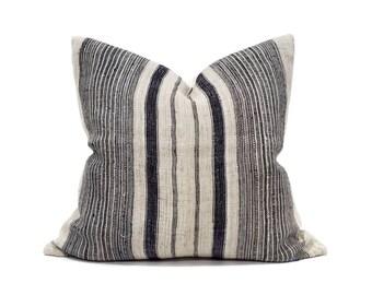 """22""""×23"""" indigo stripe hmong hemp linen pillow cover"""