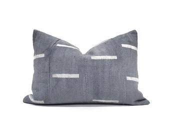 Various sizes blue grey lines print mudcloth pillow cover