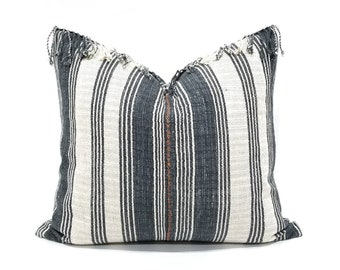 "Hmong pillow cover, 19.5""x 22"" slate blue gray stripe Asian textile cotton pillow with fringe, hmong pillow, stripe pillow"