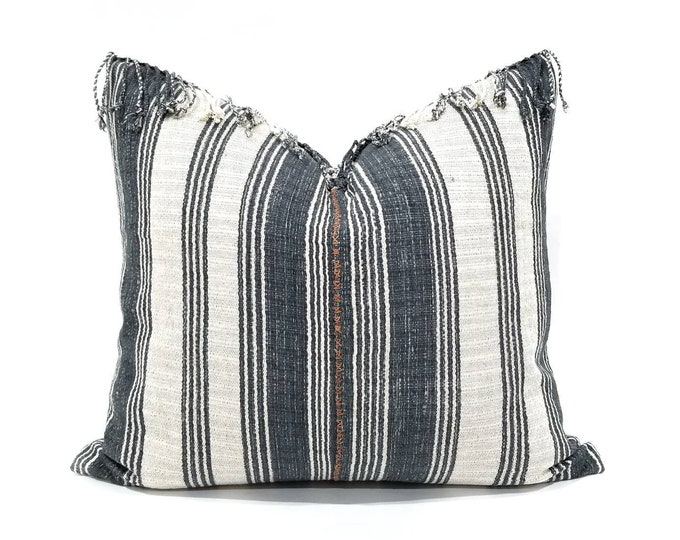 """Featured listing image: Hmong pillow cover, 19.5""""x 22"""" slate blue gray stripe Asian textile cotton pillow with fringe, hmong pillow, stripe pillow"""