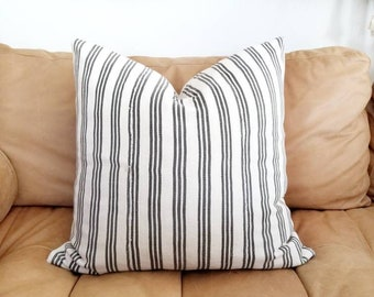 "20"" grey stripe African textile pillow cover"