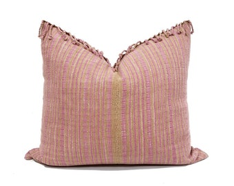 """19""""x 22"""" camel/pink stripe Asian textile cotton pillow cover with fringe"""