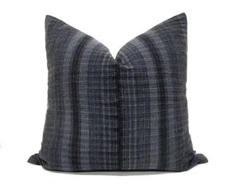 """22"""" dark charcoal grey hemp linen/cotton hmong pillow cover"""