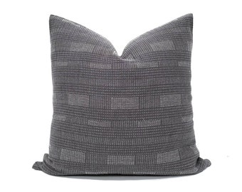 Charcoal grey with white embroidery Asian textile cotton pillow cover