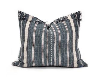 """17.75""""×20"""" fringe on top indigo stripe Asian textile cotton pillow cover"""