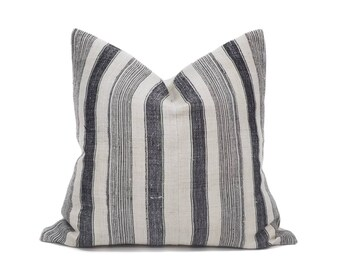 "19.5"" indigo stripe hmong hemp pillow cover"