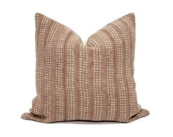 Terra cotta hand block printed linen pillow cover