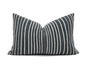 "13""x 20"" dark indigo stripe  cotton Asian textile pillow cover"