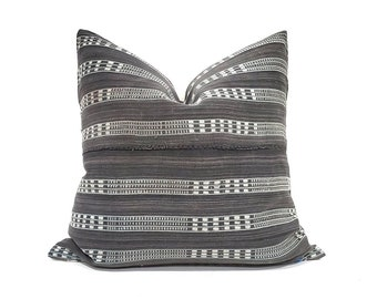 "18""&19"" grey embroidered African fine weave mudcloth pillow cover"