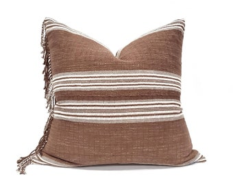 """22"""" fringe on side wine stripe Asian textile cotton pillow cover"""