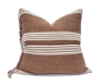 "22"" fringe on side wine stripe Asian textile cotton pillow cover"
