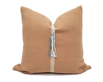 """20"""" salmon Asian textile cotton pillow cover with center fringe"""