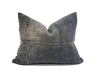 "16""×22"" ink solid Chinese denim pillow cover"