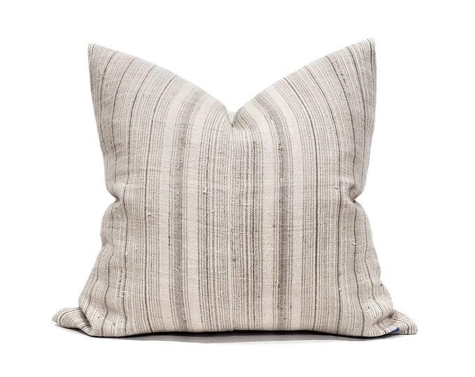 "Featured listing image: 22""×23"" light beige/grey stripe hmong hemp pillow cover"