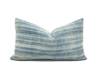 "12""×20"" light indigo variegated stripe pillow cover"