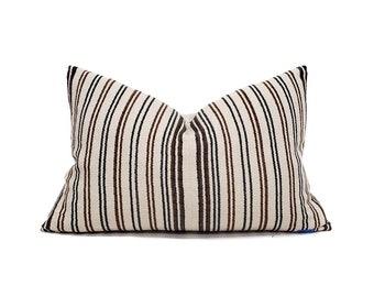 """14""""×21"""" cream/wine stripe cotton Asian textile pillow cover"""