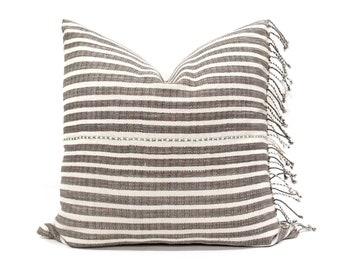 "21"" fringe on side Asian textile cotton stripe pillow cover"