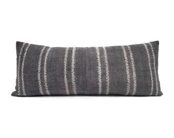 "13""×30.5"" dark grey hemp linen hmong batik bone print xl lumbar pillow cover"