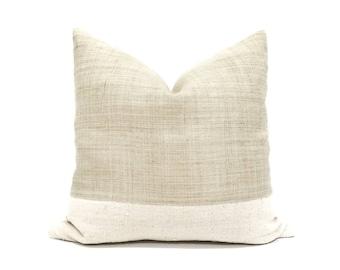 Pre-order, Various sizes flax hemp linen+ mudcloth color block pillow cover