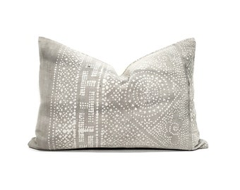 "14""×20"" grey vintage Chinese batik pillow cover"