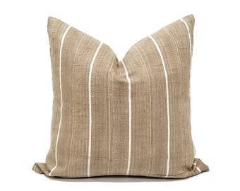 """20"""" khaki w/ white stripe aso oke pillow cover"""