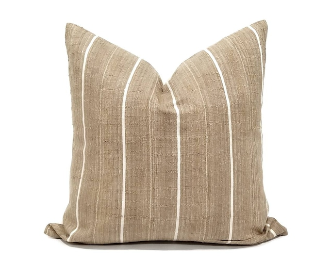 Featured listing image: khaki w/ white stripe aso oke pillow cover in various sizes