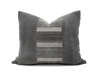 Gray stripe african textile pillow cover in various sizes