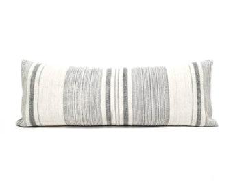 """13""""x35"""" grey stripe hmong hemp XL lumbar pillow cover"""