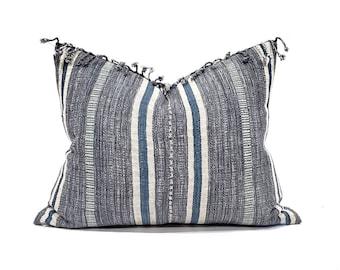 "17""×21"" fringe on top blue stripe Asian textile cotton pillow cover"