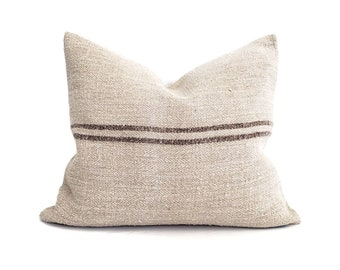 """18.75""""×22"""" muted brown stripe grainsack pillow cover"""