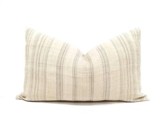 "14""×23"" vanilla cream w/ grey stripe hmong hemp pillow cover"