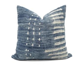 """17"""" faded indigo mudcloth pillow cover"""