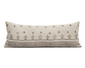 """13.5""""×35"""" black block print on flax linen bed pillow cover"""