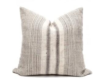 """21"""" grey stripe Hmong hemp linen pillow cover"""