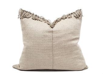 "18""×22"" fringe on top beige hemp Asian textile pillow cover"