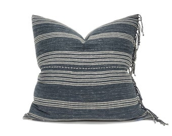 "23"" fringe on side  faded navy  stripe Asian textile cotton pillow cover"