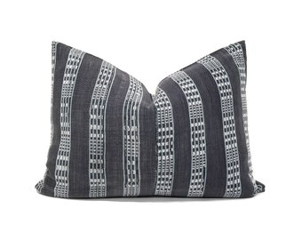 Various lumbar sizes grey embroidered African fine weave mudcloth pillow cover