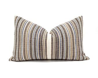 """13.75""""×22"""" brown/camel/indigo stripe Asian textile cotton pillow cover"""