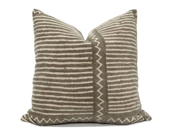 """20"""" vintage brown stripe mudcloth pillow cover"""