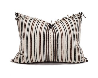 "16.5""×21"" fringe on top cream/wine stripe Asian textile cotton pillow cover"