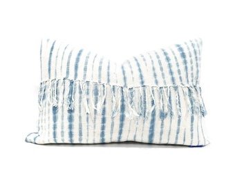 "13""×21"" Indigo tie dye stripe mudcloth pillow cover"