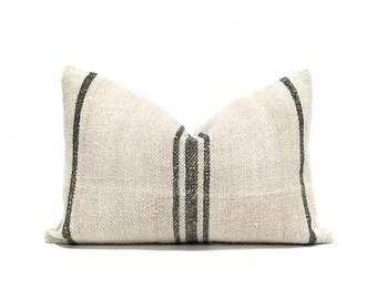 "13.5""×20"" vintage grainsack black stripe pillow cover"