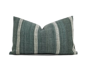 "12""×20"" green Indian wool stripe pillow cover"