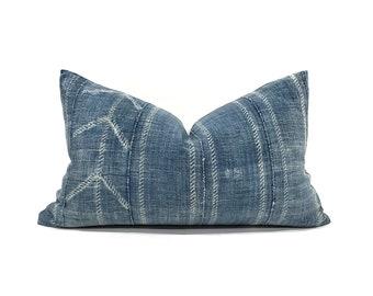 Indigo mudcloth pillows