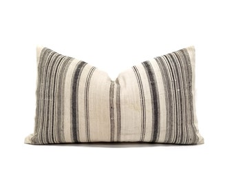 "13""×21"" light flax & black stripe hmong hemp linen pillow cover"