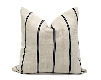 "20"" beige w/ black stripe Aso oke pillow cover"