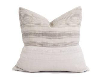 "19"" pale grey stripe hmong hemp linen+ mudcloth pillow cover"