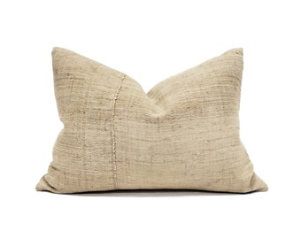 "16""×22"" beige fireweed Chinese hemp linen pillow cover"