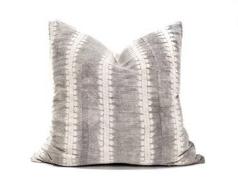 "18"" grey bone print hmong batik hemp linen pillow"