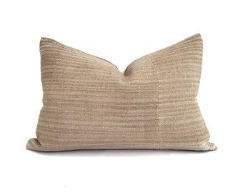 "14""×20"" camel stripe Chinese fireweed hemp linen pillow cover"